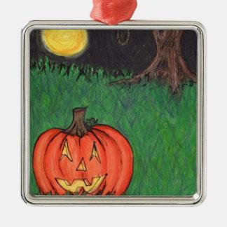 Noose Hanging Tree Pumpkin Jack O' Lantern Silver-Colored Square Decoration