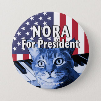 Nora For President Button In Blue #4