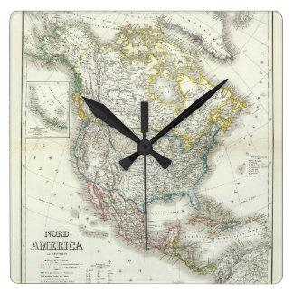 Nord America. Square Wall Clock