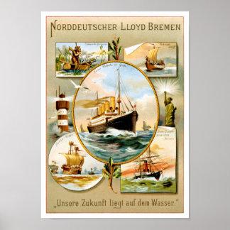 Norddeutscher Lloyd Bremen Vintage Travel Poster
