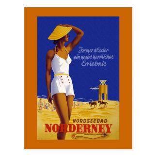 """""""Norderney"""" Vintage German Travel Poster Postcard"""