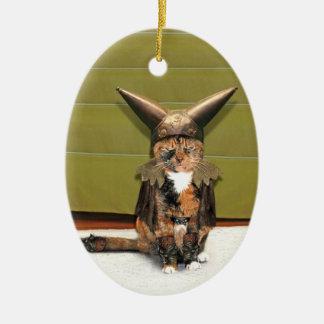 Nordic Cat is Not Amused Ceramic Oval Decoration