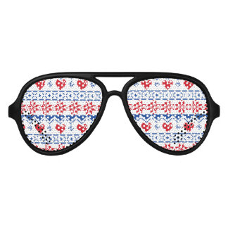 Nordic Christmas in Red & Blue Aviator Sunglasses