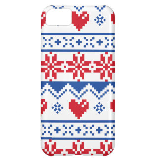 Nordic Christmas in Red & Blue iPhone 5C Case