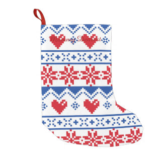 Nordic Christmas in Red & Blue Small Christmas Stocking