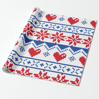 Nordic Christmas in Red & Blue Wrapping Paper