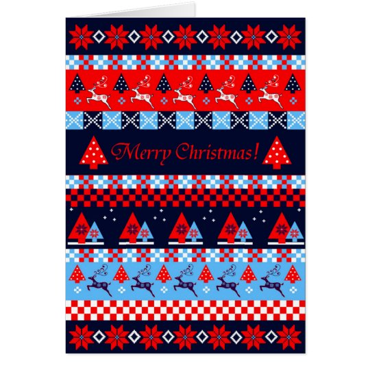 Nordic christmas pattern & custom text card