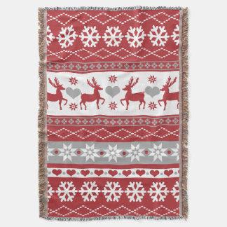 Nordic Christmas Reindeer Love Throw Blanket