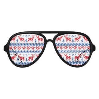 Nordic Christmas Reindeer Pattern Aviator Sunglasses