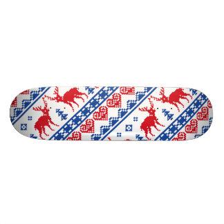 Nordic Christmas Reindeer Pattern Custom Skate Board