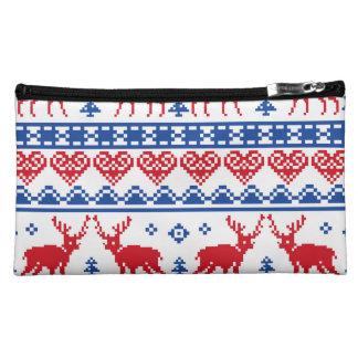 Nordic Christmas Reindeer Pattern Makeup Bags