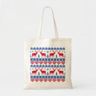 Nordic Christmas Reindeer Pattern Tote Bag