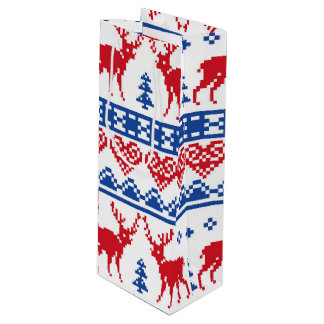 Nordic Christmas Reindeer Pattern Wine Gift Bag