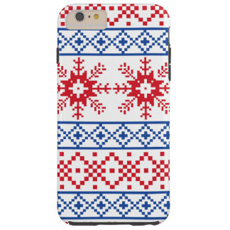 Nordic Christmas Snowflake Borders Tough iPhone 6 Plus Case