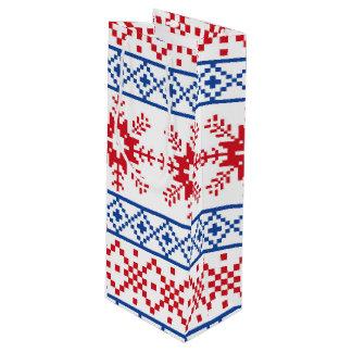Nordic Christmas Snowflake Borders Wine Gift Bag