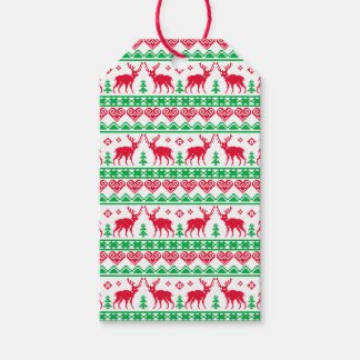 Nordic Christmas Tacky Reindeer Red Green Gift Tags