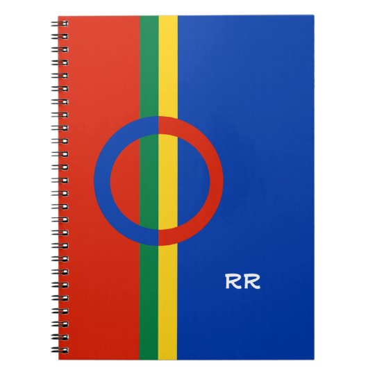 Nordic Circle Red Blue On Colour Stripe Notebook