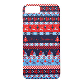 Nordic folk christmas pattern & text iPhone 8/7 case
