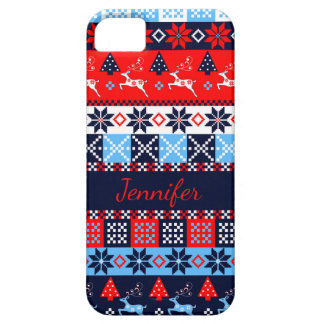 Nordic folk Seasonal pattern with custom Name Case For The iPhone 5