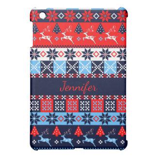 Nordic folk Seasonal pattern with custom Name Cover For The iPad Mini