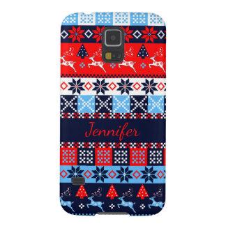 Nordic folk Seasonal pattern with custom Name Galaxy S5 Case