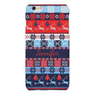 Nordic folk Seasonal pattern with custom Name iPhone 6 Plus Case