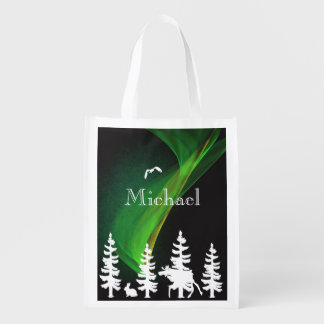 Nordic forest in white and black  northern lights reusable grocery bag