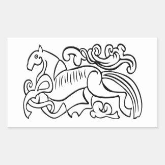 Nordic Horse black and white graphic image Rectangular Sticker