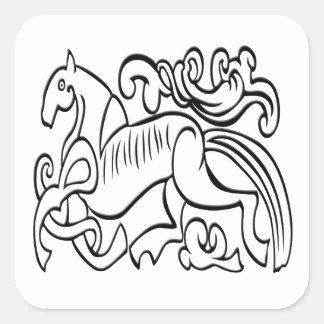 Nordic Horse black and white graphic image Square Sticker
