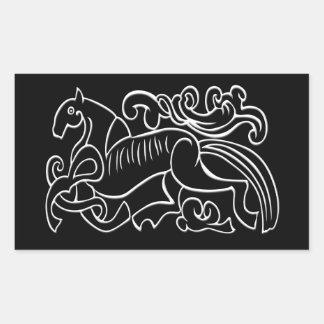 Nordic Horse black and white graphic inverted Rectangular Sticker