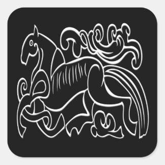 Nordic Horse black and white graphic inverted Square Sticker