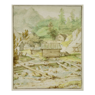 Nordic Landscape with Wooden Hut and Weir Poster
