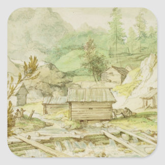 Nordic Landscape with Wooden Hut and Weir Square Sticker