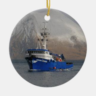 Nordic Mariner, Crab Boat in Dutch Harbor, AK Round Ceramic Decoration