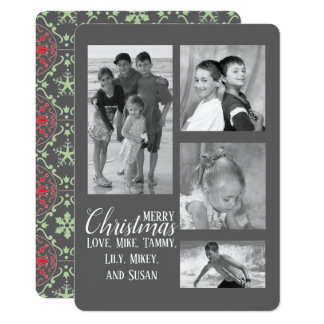 Nordic Pattern Multi Holiday Photo Card in grey