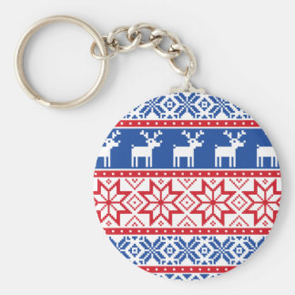 Nordic Reindeer and Snowflakes Basic Round Button Key Ring