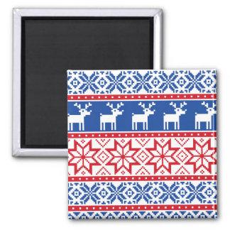 Nordic Reindeer and Snowflakes Magnet