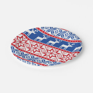 Nordic Reindeer and Snowflakes Paper Plate