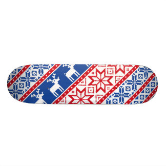 Nordic Reindeer and Snowflakes Skateboard Deck