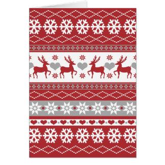 Nordic Reindeer Christmas Folded Holiday Greeting Card