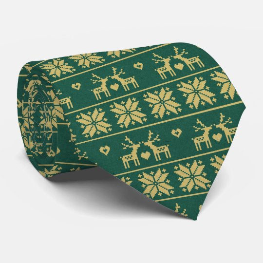 Nordic Reindeer Snowflake Green Holiday Christmas Tie