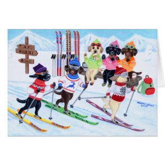 Nordic Skiing Labradors Painting Card