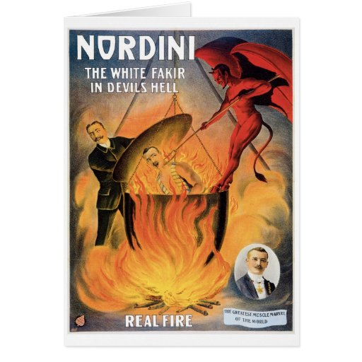 Nordini~ In Devils Hell Vintage Magic Act Note Card