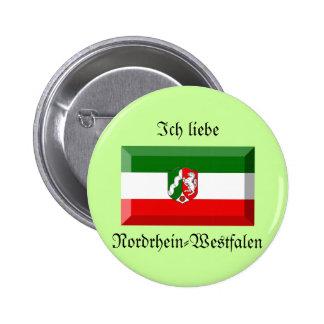 Nordrhein-Westfalen Flag Gem 6 Cm Round Badge