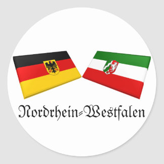 Nordrhein-Westfalen, Germany Flag Tiles Round Sticker