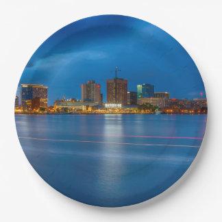 Norfolk City Skyline Paper Plate
