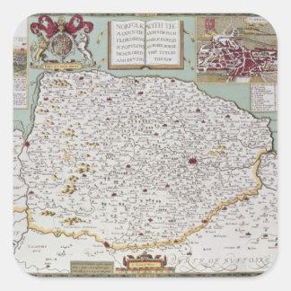Norfolk, engraved by Jodocus Hondius Square Sticker