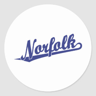 Norfolk script logo in blue classic round sticker