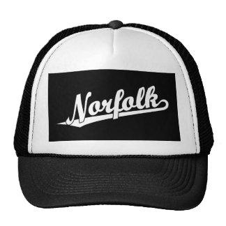 Norfolk script logo in white cap