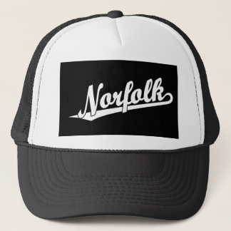 Norfolk script logo in white trucker hat